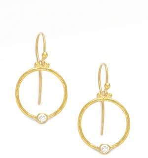 Gurhan 24K Gold& Diamond Hoop Earrings