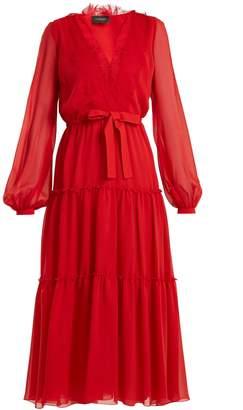 Giambattista Valli V-neck lace-trimmed silk-georgette dress