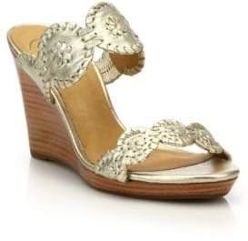 Jack Rogers Luccia Metallic Leather Wedge Sandals