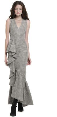 Alice + Olivia Birch V-Neck Ruffle Maxi Dress