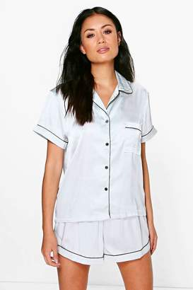 boohoo Satin Button Through Short PJ Set