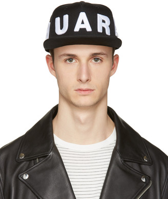 Dsquared2 Black Embroidered Logo Cap $130 thestylecure.com
