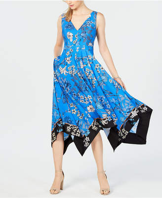 Vince Camuto Floral Handkerchief-Hem Dress