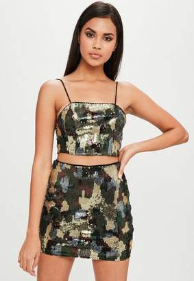 Missguided Carli Bybel x Green Camo Sequin Top