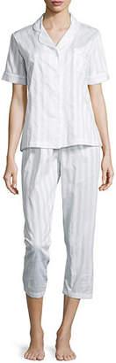P Jamas Tina Shadow-Stripe Short-Sleeve Long Pajama Set