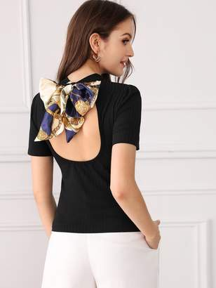 Shein Tie Back Backless Knit Top