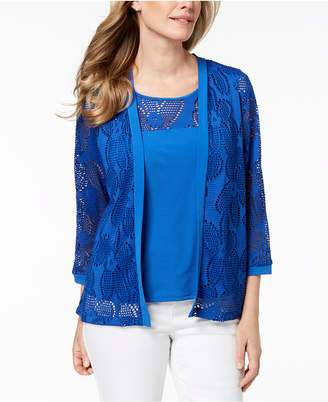 Alfred Dunner Petite Layered-Look Perforated Cardigan