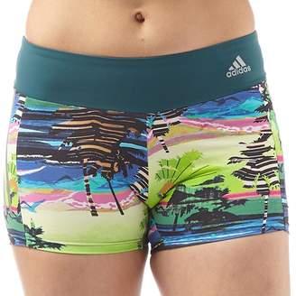 adidas Womens Salinas 3 Stripe Climalite Palm Shorts IV Green
