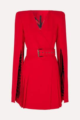Gareth Pugh Belted Crepe Wrap-effect Mini Dress - Red