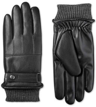 totes Isotoner Men's Faux-Leather Knit-Cuff Gloves