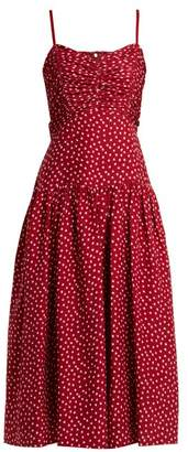 Rebecca Taylor - Heart Print Ruched Silk Dress - Womens - Burgundy Print