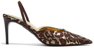 Stella McCartney Leopard Print Brocade Slingback Pumps - Womens - Gold Multi