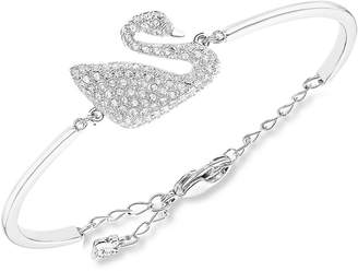 Swarovski Rhodium-Plated Crystal Swan Bangle Bracelet