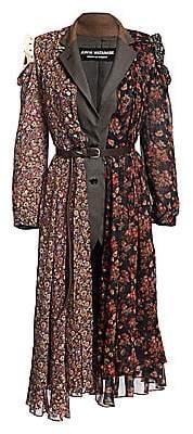 Junya Watanabe Women's Floral Draped Patchwork Reversible Wool Vest Combo