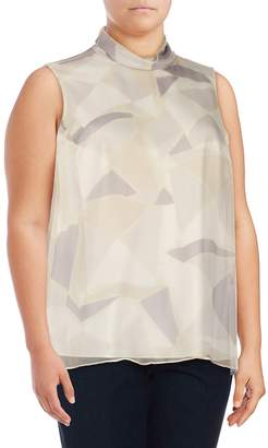 Lafayette 148 New York Women's Plus Maren Mockneck Silk Blouse - Iced Violet, Size 3x (22-24)