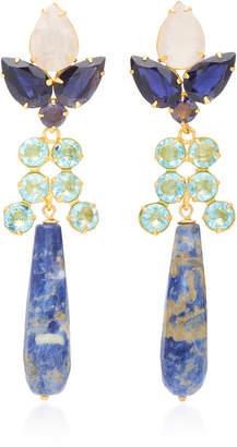 Bounkit Multistone 14K Gold-Plated Brass Drop Earrings