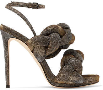 Marco De Vincenzo Braided Textured-lamé Sandals - Metallic