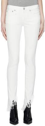 R 13 'Kate Skinny' shredded angled cuff jeans