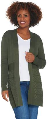Denim & Co. Long Sleeve Open Front Cable Detailed Cardigan