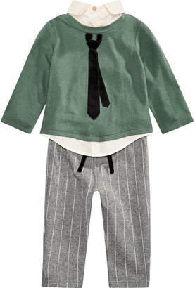 First Impressions Baby Boys 2-Pc. Layered-Look Necktie Top & Striped Pants Set