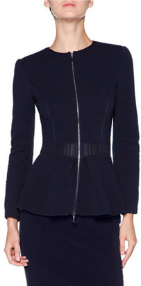 Giorgio Armani Zip-Front Ottoman Peplum Jacket, Navy $2,750 thestylecure.com