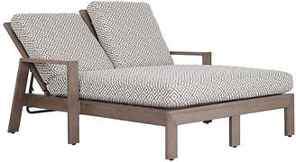 One Kings Lane Laguna Double Chaise - Tan/White Sunbrella
