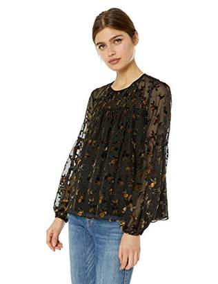 Parker Women's Marietta Long Sleeve Sheer Burnout Smocked Blouse