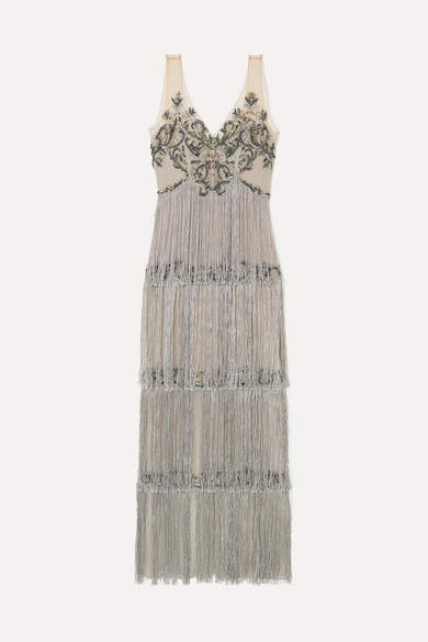 Fringed Embellished Tulle And Satin Gown - Silver