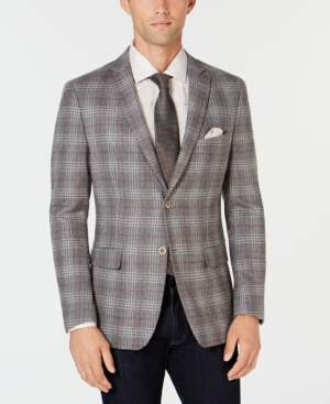 Tallia Men's Big & Tall Slim-Fit Gray Plaid Sport Coat with Faux-Suede Elbow Patches