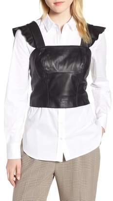 Trouve Flutter Sleeve Leather Bustier
