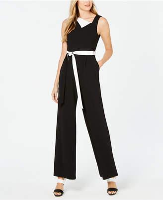 Calvin Klein Asymmetrical Fold-Over Jumpsuit