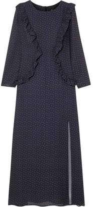 Paper London Jasmine Ruffled Polka-dot Crepe Midi Dress - Navy