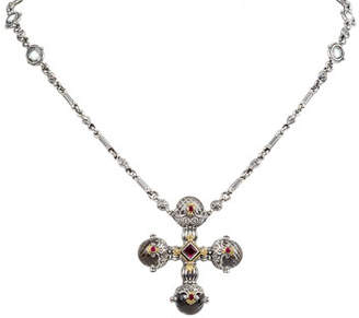 Konstantino Pythia Crystal & Corundum Cross Necklace