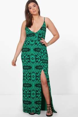 boohoo Plus Annie Animal Printed Plunge Neck Maxi Dress