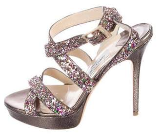 Jimmy Choo Glitter Embossed Sandals