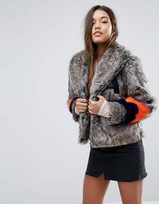 Asos Design Faux Fur Jacket with Varsity Stripes