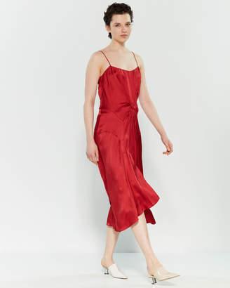 Carven Red Satin Midi Slip Dress