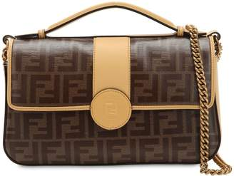 Fendi Double Ff Baguette Leather Shoulder Bag