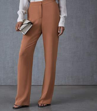 Reiss Nuria - Tailored Wide Leg Trousers in Rust
