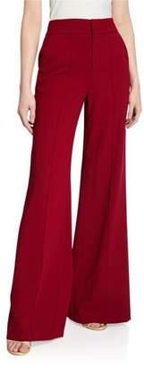Alice + Olivia Dylan High-Waist Wide-Leg Pintucked Pants