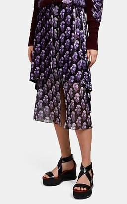 Chloé Women's Floral Chiffon & Velvet Skirt - Black Pat.