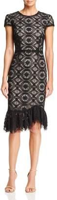 Betsey Johnson Ruffle-Hem Lace Dress