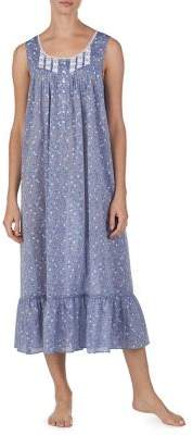 Eileen West Cotton Chambray Printed Nightgown