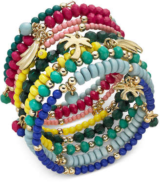 INC International Concepts I.N.C. Gold-Tone Multi-Charm Beaded Coil Bracelet, Created for Macy's