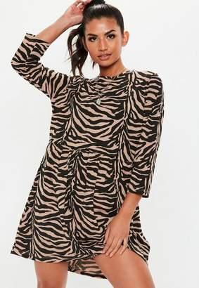 Missguided Brown Zebra Smock Dress