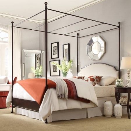 Weston Home Swindon Antique Bronze Metal Canopy Bed, Multiple Sizes