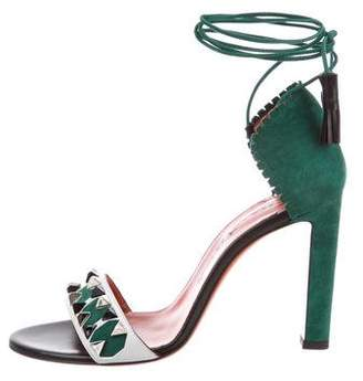 Santoni Spike-Embellished Lace-Up Sandals w/ Tags