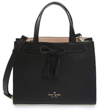 Kate Spade New York Hayes Street Small Isobel Leather Satchel - Black $328 thestylecure.com