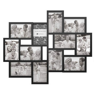 Trademark Global Collage Picture Frame with 12 Openings for 4x6 Photos by Lavish Home, Black