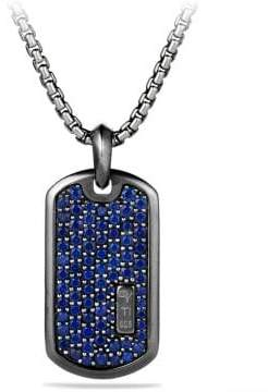 David Yurman Davidyurman Pave Tag With Blue Sapphire And Black Titanium